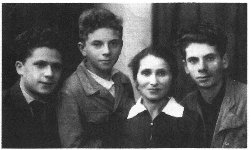 Photo from Ludmila's book. From left her father and his brothers and their mother who a few months later was killed in Barbij Jar