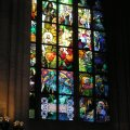A Mucha Stained glass decorations in St. Vitus Cathedral in Prague