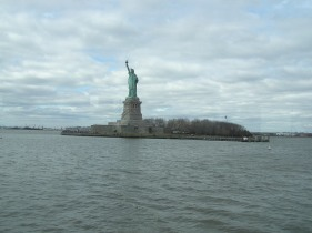 On our way by boat to Ellis Island you pass by the Statue of Liberty
