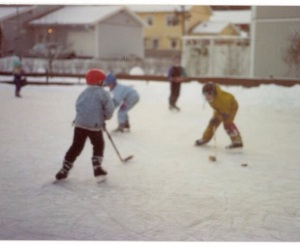 My boys playing hockey in the neighbourhood in Sweden
