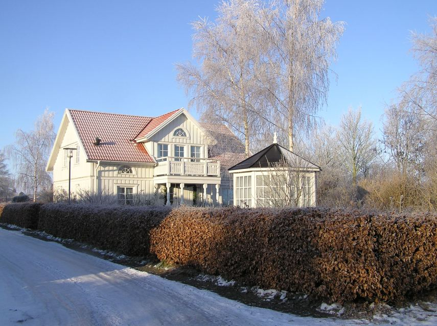 A white Christmas in Denmark is a seldom sight. My Swedish house.