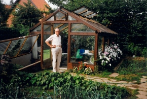 My father at his green house in the 1980s