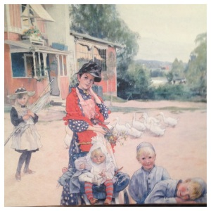 A photo copy of a painting by Carl Larsson