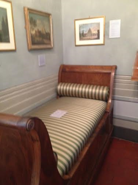 The divan in the house at the Spanish Steps where Keats spent his last months in his young life