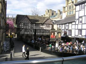 The famous Tudor public houses at Shambles Sq. in Manchester. Moved up a little from their original place