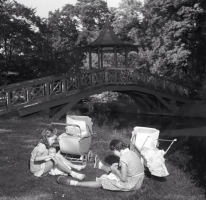 The Chinese Bridge in the park, where my son was found. This photo is from the early 1950s from the internet