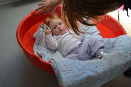 """Baby in a """"tray"""""""