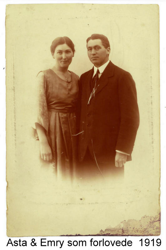 Asta and Emry at the time of their marriage 1919-20