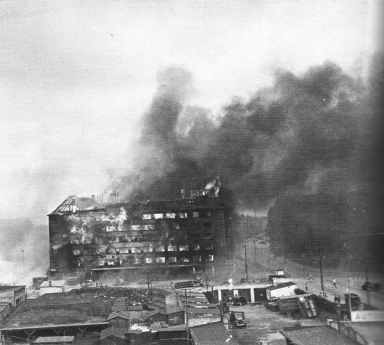 "The burning ""Shell House"" German Headquarter"