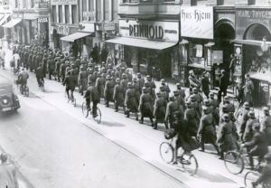 German soldiers marching in Central Copenhagen