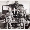 A rare visit by a car, my mother is on the left 1930