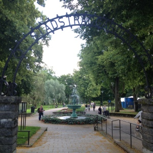 Entrance to the city park in Uppsala Sweden