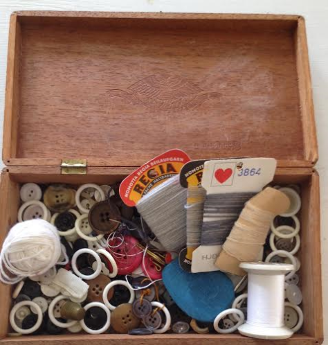 The cigar box used for buttons for about a hundred years
