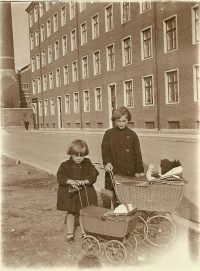 Two little girls in Copenhagen in the 1940s