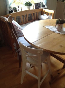 The kitchen bench and table and Ingolf chairs from IKEA