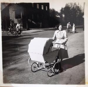 My mother with her twins in Copenhagen