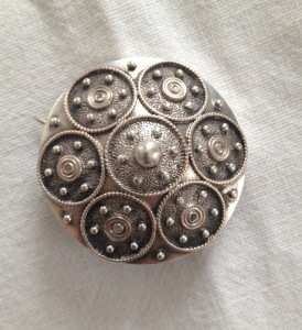 grandmother's Brooch from the 1800s resembling a Viking shield