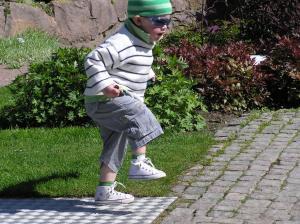 A happy toddler seen in Gothenburg in Sweden