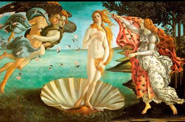 The Birth of Venus by Botticelli, from the V& A brochure on the exhibition