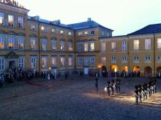 "The inner yard of the castle at a ball for ""livgarden"" the queen's guard"