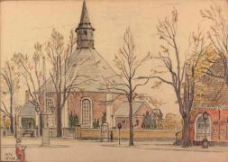 A drawing of the church