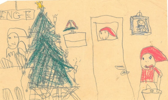 Christmas drawing. We had a window in the door to our room so that our parent could see if we slept