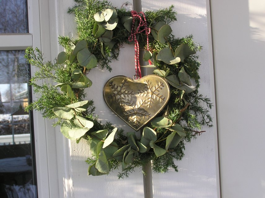 A home made wreath on my door