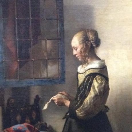 "Detail from a Vermeer painting at ""Old Masters' Picture Gallery"" in Dresden"