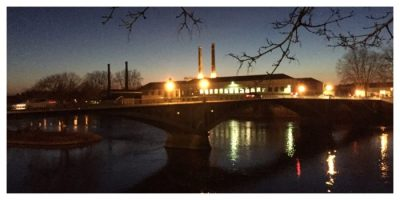 Dusk, Châtellerault, France, Light trails, Vienne River, manufacture, coutellerie,