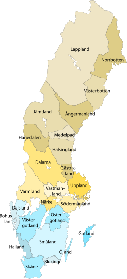 The 25 different so-called landscapes in Sweden