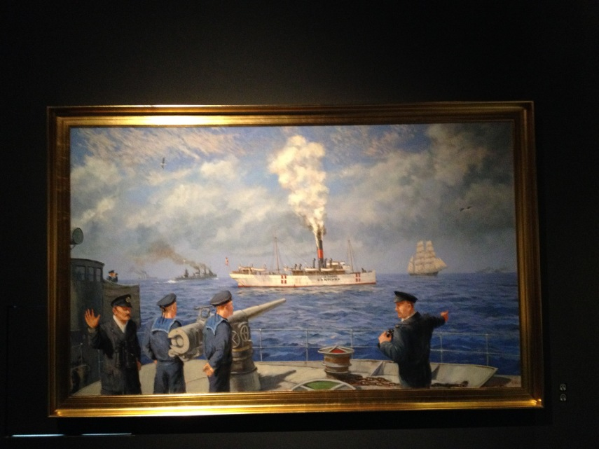 """The Danish Steamer """"N.J. Fjord"""" that inadvertently started the battle"""
