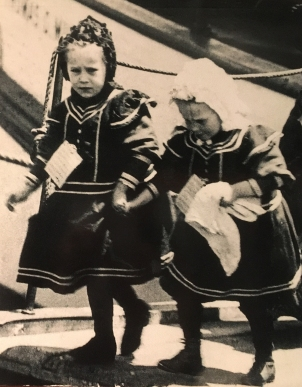 Two sisters arriving at Ellis Island