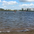 The elite group is in the water at Fulgsang lake at the Challenge Herning Triathlon2017