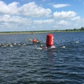 Swimmers in the water at Fulgsang lake at the Challenge Herning Triathlon2017
