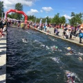 Swimmers finishing the 1.9 km at Fulgsang lake at the Challenge Herning Triathlon 2017