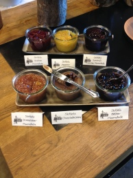 Different kind of homemade jam at Hindsgavl