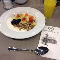 Fruit and yogurt and müsli at Hindsgavl