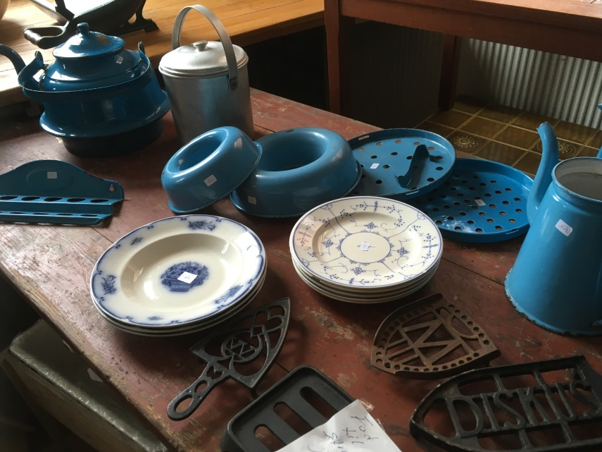 porcelain and blue enamel kitchen ware from the 1920s
