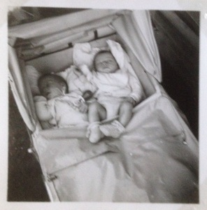Twins in the old pram