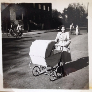 Our mother in the neighborhood where we lived spring 1951