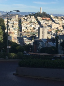 Looking down at the steep and winding Lombard Street before sunset