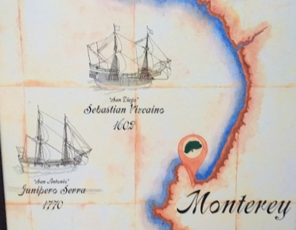 A map at the harbor at Monterey. California's birthplace