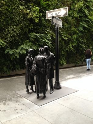 group of people standing in SFMOMA yard