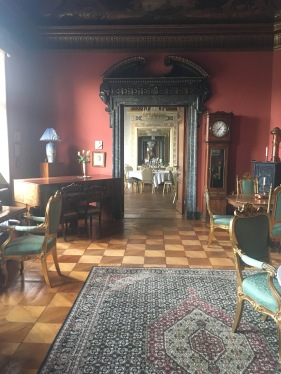 One of the salons in connection with the dining room at Fuglsang Manor House