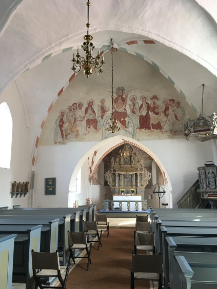 Nørre Alslev church, frescos from before the Reformation