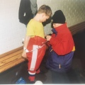 My eldest boy helping my youngest in Uppsala Sweden1995
