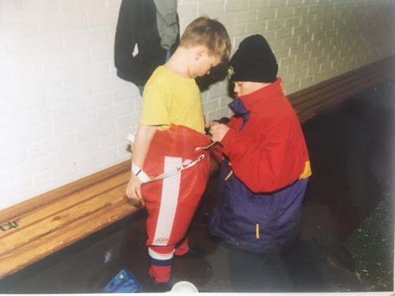 My eldest boy helping my youngest in Uppsala Sweden 1995