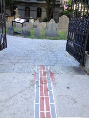 The Freedom Trail and Black Heritage trail leading to King's Chapel and Burying Grounds