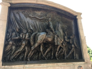 Robert Gould Shaw Memorial at School Street Boston. A UnionArmy Civil War hero who died in battle leading his all-black regiment at Charleston, SC
