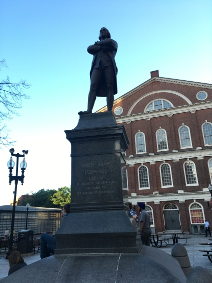 A Statue of Samuel Adams, Merchant and brewer orator and Signer of the Declaration of Independence. Faneuil Hall used for trade and meetings up to the American Revolution